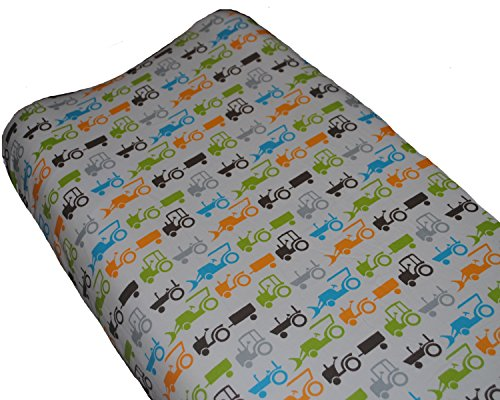 Go Mama Go Designs Tractor Trails Changing Pad Cover, White/Turquoise/Orange