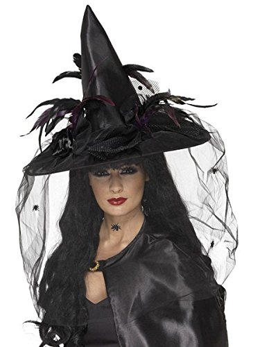 Smiffys Women's Black Deluxe Witch Hat