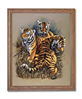 African Tiger Cat Cubs Kids Rooms Animal Wildlife Home Decor Wall Picture Oak Framed Art Print