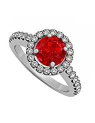 925 Sterling Silver July Birthstone Ruby And Cubic Zirconia Halo Engagement Ring - B00UJGF6PO