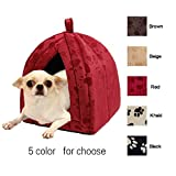 Dome Cat House Pet Bed Cushion Beige Sleep Soft Pad Puppy Blanket Warm Cat Paws Cozy Mat