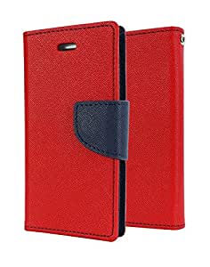 J.N. Mercury Fancy Diary Wallet Flip Case Back Cover for Sony Xperia E2 - Red