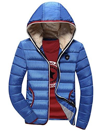 LaoZan Uomo Cappotto invernale con cappuccio Giacca con Cerniera da manica lunga XXL Azzurro