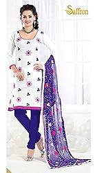 Parabdhani Fashion Women's Chanderi Semi Stitched Suit (PBF_DM_39_White_Free Size)