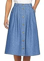 AmeriMark Women's Denim Button-Front Skirt
