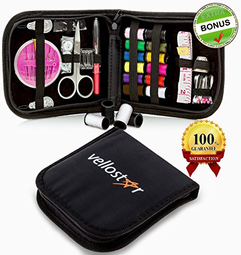 Best Price Vellostar Compact Sewing Kit for Home, Travel and Emergency, +4 Bonuses, High Quality Zip...