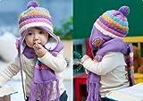 (インスタイルベイビー) InStyle Baby ベビー ニット 帽子 マフラー セット ハンカチ付 お花 ボンボン