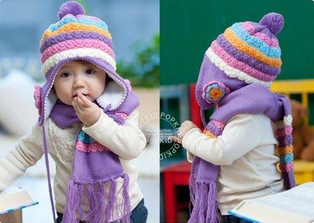 (インスタイルベイビー) InStyle Baby ベビー ニット 帽子 マフラー セット ハンカチ付 お花 ボンボン (ライトパープル)
