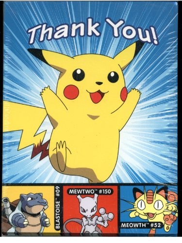 Pokemon Thank You Notes With Envelopes Featuring Pikachu - 8 Pack