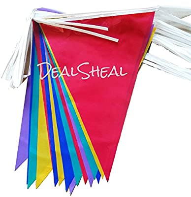 Multi Coloured PVC Plastic Bunting Banner 10 Metre Long 20 Flags Pennant Double Sided Indoor & Outdoor Party Decoration