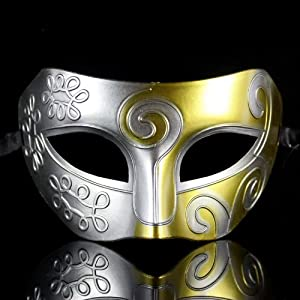 Melody Retro Roman gladiator Halloween party masks man woman children Mardi Gras Masquerade mask more colors available (Gold + Silver) by Melody party favor