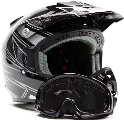 Adult Offroad Helmet & Goggles Gear Combo DOT Motocross ATV Dirt Bike MX White Black ( M Medium )