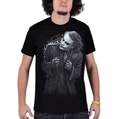 Batman Il Cavaliere Oscuro - T shirt con stampa - Motivo Joker in Black - Grande stampa del Joker - Girocollo nera - XL