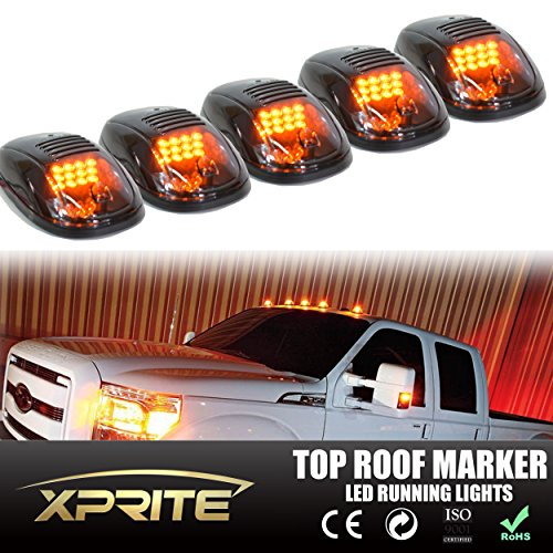 Xprite Newest Version 5pcs 12 LEDs Amber Yellow LED Cab Roof Top Marker Running Clearance Lights For Ford Truck SUV Pickup 4x4 (Black Smoked Lens Lamps) (Ford Cab Clearance Lights compare prices)