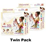 Clevamama Splash & Wrap Baby Bath Towel CREAM TWIN PACK