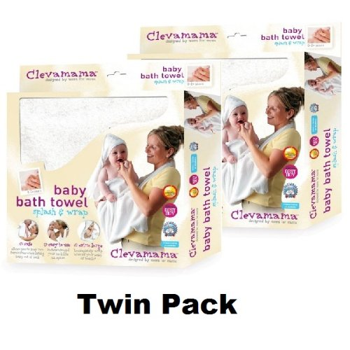 Clevamama Splash & Wrap Baby Bath Towel PINK TWIN PACK