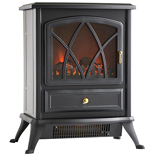 VonHaus 1500W Electric Stove Heater - Portable Home Fireplace with Log Burning Flame Effect (16.8W x 10.8L x 20H inches - Black) (Space Heaters Fireplace compare prices)