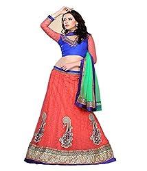 Manvaa Women Net Lehenga Choli(Peach_ASTT104_Free Size)