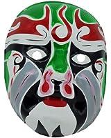 Beijing Opera Mask, Chinese Opera Mask, Green and White Costume Mask, Face Mask