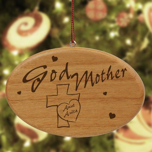 Engraved Godmother Wooden Oval Ornament, 4
