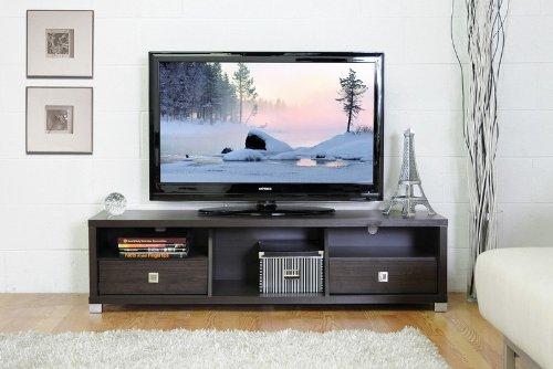 Cheap TV Stand Entertainment Center in Dark Brown Finish (VF_WI-Jinna-3302250)