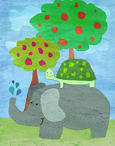 Green Leaf Art Hippo and Turtle Canvas Art