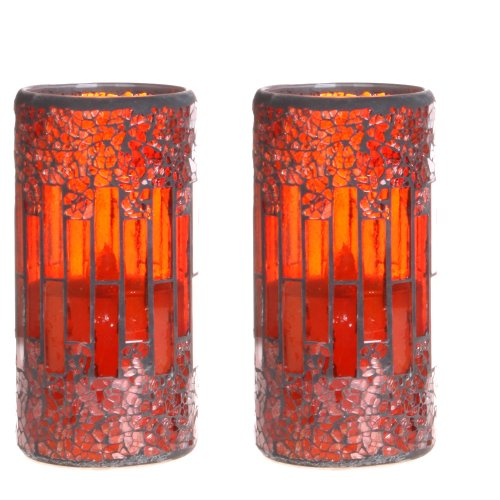 Dfl 3*6 Inch Red Crack Pattern Mosaic Glass With Flameless Led Candle With Timer,Work With 2 C Battery,Pack Of 2
