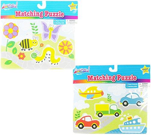 ArtSkills! Matching Puzzle Set - Matching Skills - Vehicles & Insect (2 Puzzles)