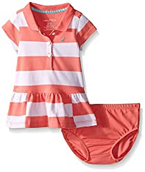 Nautica Baby Pique Dress with Offset Stripes, Soft Coral, 3-6 Months