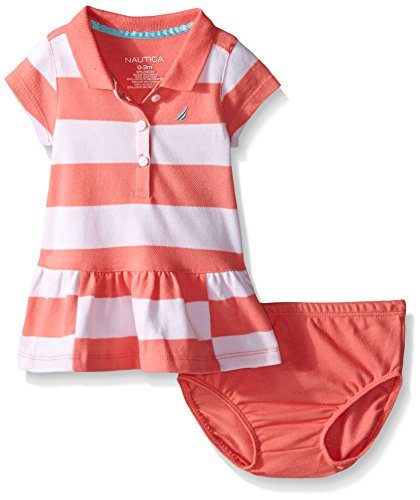 Nautica Baby Pique Dress with Offset Stripes, Soft Coral, 24 Months