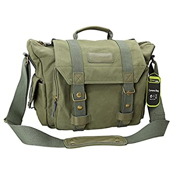 Evecase DSLR Large Canvas Camera and Laptop Case Messenger Bag w/Rain Cover - Olive Green