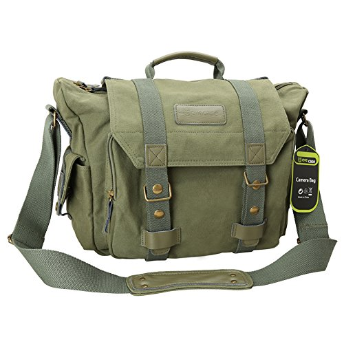 Evecase DSLR Large Canvas Camera and Laptop Case Messenger Bag w/Rain Cover – Olive Green