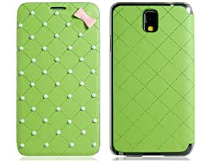 Beads Decorated Faux Leather Flip Case for Samsung Galaxy Note 3 N9000 N9002 (Green)