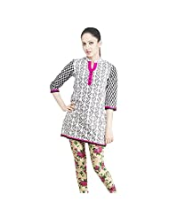 Rama Cotton White Printed Women's Straight Kurta (14RAMA1421018)