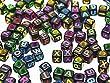 Indigo 52 Alphabet Letter Charms Beads For Loom Bands Silver/Black/Gold/Multi/White/Transparent (Blk/Multi)