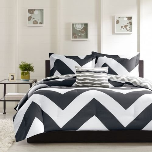 New Bed Bag Twin Xl Full Queen 4 Pc Pink Black Blue White Chevron Comforter Set front-1025188