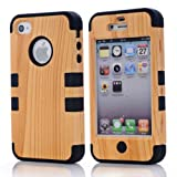 Super Spiderman Fashion Vivid Wooden Print New Dual Layer Protection ( PC + Silicone ) Hybrid Back Case Cover for Apple iPhone 4 4s 4g with Apple Logo Cutout ( Inner Black )
