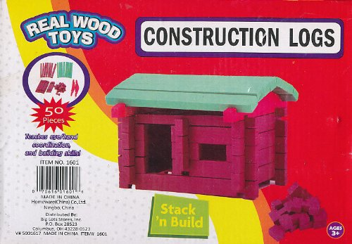 "Real Wood Toys Construction Logs ""Stack n Build"" 50 Pieces - 1"