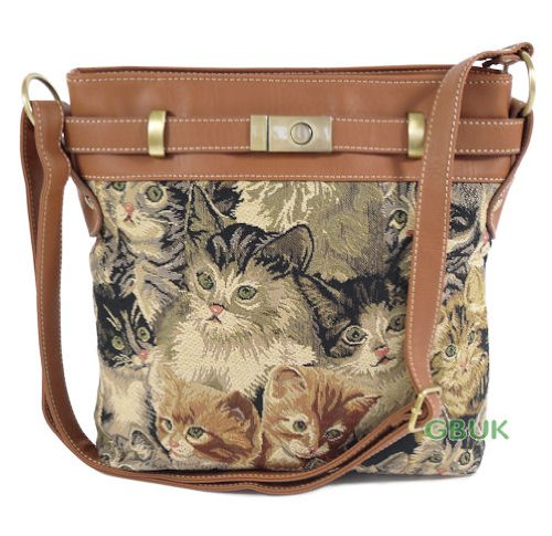 Tapestry Royaltex Ladies Tote (across body) Shoulder Bag (Cat) - Gobelin Style