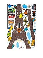 Ambiance-sticker Vinilo Decorativo Eiffel Tower Kidmeter With Planes And Funny Animals