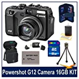 Canon G12 10MP Digital Camera w/ 5x Optical Image Stabilized Zoom & 2.8 inch Vari-Angle LCD W HD Video Super Bundle With 16GB Secure Digital High-Capacity Memory Card, DigPro Deluxe Case, Hi-Speed SD USB 2.0 Card Reader, BP-7L 1150mah Battery Pack & More