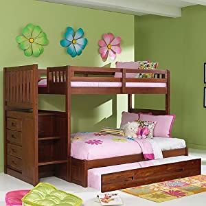 Merlot Twin Full Staircase Bunk with Trundle from Dreamscape Furniture