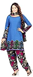 AAINA Women's Crepe Unstitched Dress Material (Blue)