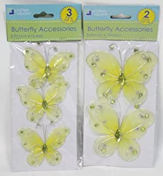 Crafters Square LARGE & SMALL Yellow Butterfly Accessories Set Of 5