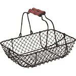 Vintage Wire Metal Basket Rectangular Rustic Brown Garden Wedding Shabby Trug