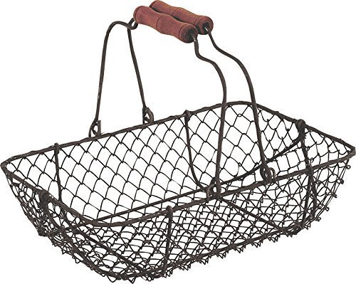 Vintage Wire Metal Basket Rectangular Rustic Brown Garden