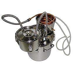 OLizee® 3 Pots 5 Gal Stainless Steel Water Alcohol Distiller Copper Tube 18L Moonshine Still Spirits Boiler Home Wine Making Kit
