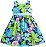 Girls Dress Blue Belt Flower Print Party Kids Sundress Size 2-10