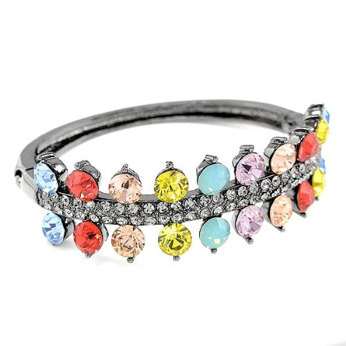 Perfect Gift - High Quality Vintage Bangle with Multi-color Swarovski Crystal (637) for Birthday Anniversary Free Standard Shipment Clearance