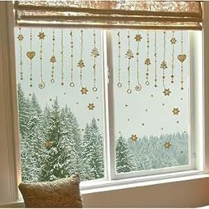 Fensterfolie fensterdeko fenstersticker riesig weihnachtsgirlande gold - Decorazioni natalizie finestre ...
